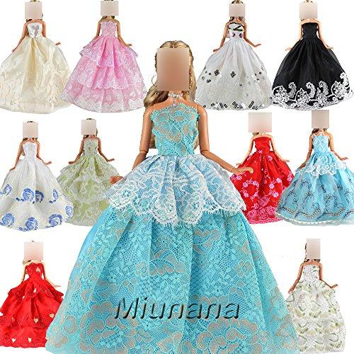 Preisvergleich Produktbild 5 St. Hochzeit Fashionistas Prinzessinnen Kleidung Kleider Puppenkleid für Barbie Puppen
