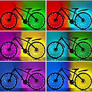 HOOMIL Waterproof LEDs Bike Wheel Lights 7 Colors Changeable Ultra Bright Colorful Bicycle Wheel Tire Spoke Light String Strip for Toddlers Kids Adults Bike Accessory