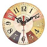 f53bda504 Yosoo Reloj de pared redondo de madera, reloj de pared vintage, decoración  de cocina