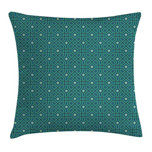 JIMSTRES Eastern Throw Pillow Cushion Cover, Oriental Style Ornamental Mosaic with Arabesque Effects Ethnic Pattern, Decorative Square Accent Pillow Case,Jade Green Violet Blue 16x16 inches