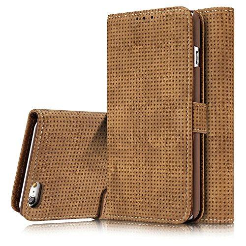 Retro Matte Breatheable Air-Mesh PU-Leder Folio Stand Brieftasche Case Cover mit Kickstand Card Slots für iPhone 6 und 6s ( Color : Blue ) Yellow