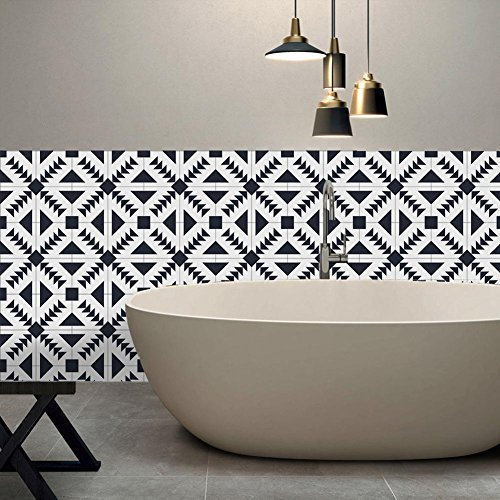 H Black and white Tile Stickers Bathroom & Kitchen Tile Decals Easy to Apply Just Peel and Stick Home Decor 20cm*5m 001 , 2