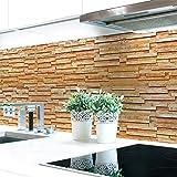 Küchenrückwand Schichtenholz Relief Premium Hart-PVC 0,4 mm selbstklebend - Direkt auf die Fliesen, Größe:160 x 80 cm