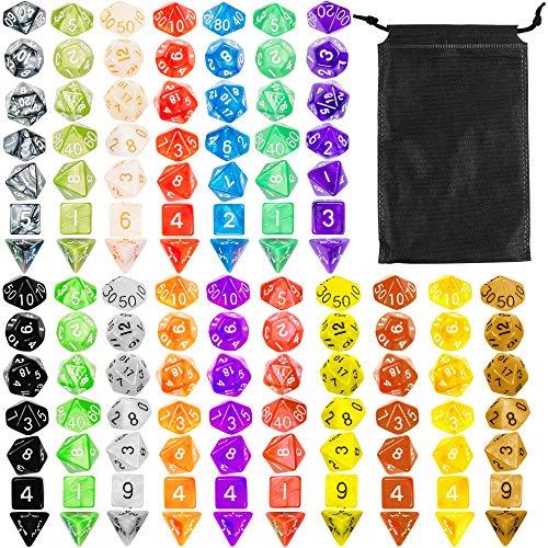 The Twiddlers Packung (140 Stück) polyedrische Würfeln - 20 ideal für Dungeons and Dragons (DND, D & D dice) Verschiedene Spiele - inklusive Aufbewahrungs Tasche
