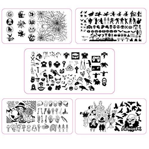 Halloween Stamping Schablone Spinnennetz Hexe Zombie Stempelplatte Nailart (Halloween Set)