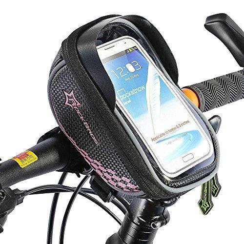RockBros Fahrrad Lenkertaschen Handytaschen Wasserfest beim Leichten Regen Für Smarthandy unter 5.8 Zoll Rosa