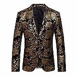 Anzugjacke Herren, DoraMe Männer Goldene Floral Bedruckte Blazer Revers Slim Fit Stilvolle Mantel (Bitte wählen Sie eine größere Größe als üblich) (Gold, Asiatische Größe L)