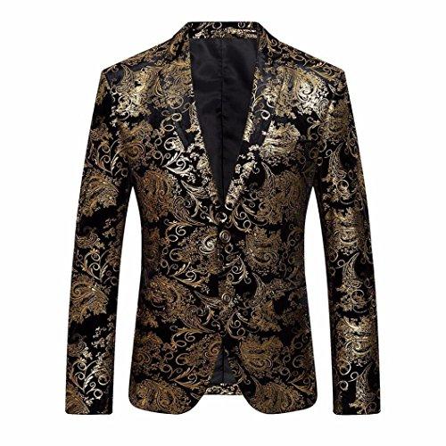 Anzugjacke Herren, DoraMe Männer Goldene Floral Bedruckte Blazer Revers Slim Fit Stilvolle Mantel (Bitte wählen Sie eine größere Größe als üblich) (Gold, Asiatische Größe 2XL)