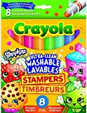 Children's Kids Shopkins 8 x Crayola Stamper Markers Felt Tip Pens Washable