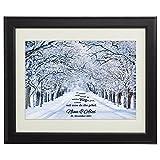 Gemeinsamer Weg - Winter - Personalisiert mit Namen und Datum - Druck im Bilderrahmen - Geschenke zur Hochzeit für Paare - Geschenk-Idee für Freund oder Freundin - groß: 45 x 55 cm
