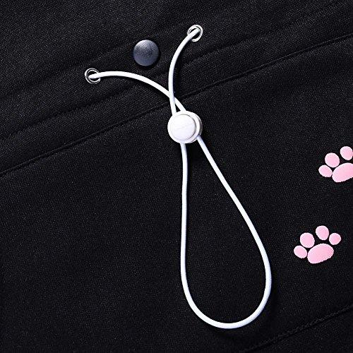 Wangyue Frauen Niedliche Känguru Tasche Hoodie Langarm Pullover Sweatshirt Schwarz01 M - 3