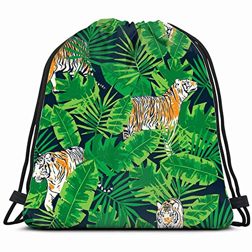 DHNKW Tropical Leaves Tigers Pattern Animals Wildlife Tiger Drawstring Bag for Women Drawstring Hiking Backpack Gym Bag for Women 17X14 Inch