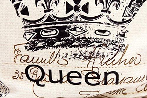 Kissenbezug Nellie 40x40cm Sofa Kissenhülle Queen Krone Postkarte Shabby Vintage French Chic alte Schrift Nostalgie Kissen Dekokissen - 2