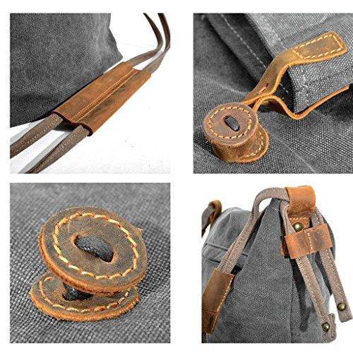 Minetom Unisex Vintage Schultertasche Dame Canvas Schulter Kurier Beutel große Handtasche Grau2