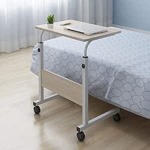 Bianca divano letto regolabile in altezza Tavolino per computer portatile sul lato del letto mobile sopra il letto Scrivania postazione di lavoro per computer laterale con ruote bloccabili