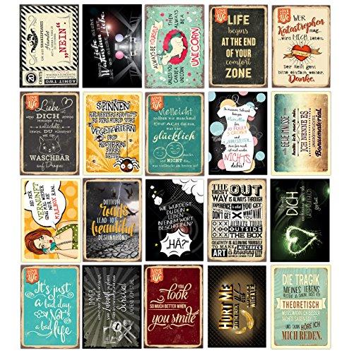 20 Spruchkarten #3, Retro Postkarten mit lustigen Sprüchen, 20 verschiedene Sprüche, 14,8 x 10,5 cm