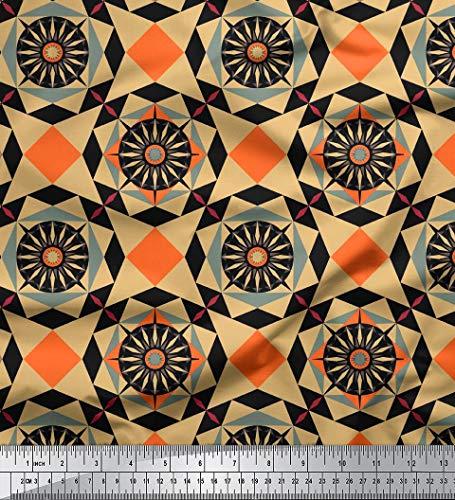 Soimoi Viskose Chiffon Mosaik Gedrucktes Gewebe-Material durch Das Messgerät 42 Zoll breit-Schwarz -