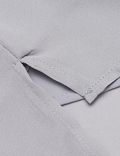 Plunge Damen Blusen Tuniken Elegant Blusenshirt Langarmshirt Rundhals Oberteile T-Shirt mit Reißverschluss Vorne Grau