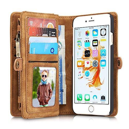 CaseMe Etui Protection Detachable Case Carte Slots Multifonctionnel Zipper Purse PU Couvertures en Cuir Fermeture Magnétique pour iPhone 6 / iPhone 6s Jaune