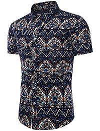 feiXIANG Hombres Camisa de Moda Bohe Casual Camisas de Hombre Floral de Manga Corta de Lino