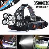 HCFKJ 35000 Lm 5X Cree Xm-L T6 Led Wiederaufladbare Scheinwerfer Scheinwerfer Reisekopf Taschenlampe