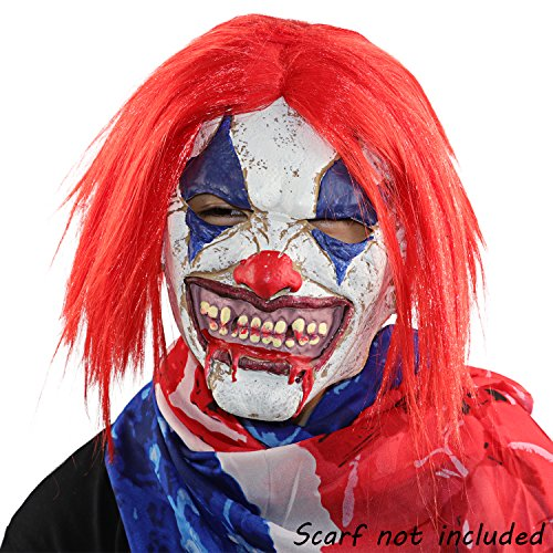 XIAO MO GU Latex Gummi Clown Kopf Maske Halloween Party Kostüm Dekorationen Red (Scary Clown Köpfe)