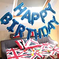 the GreatTony Happy Birthday Balloon Banner Self Inflating Happy Birthday Balloons for Party Decorations, Blue Color, Available in 6 Colors