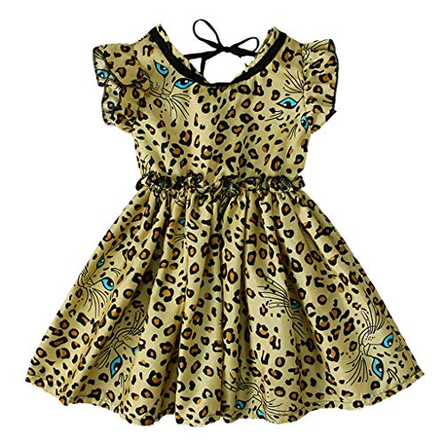 Julhold Kleinkind Kinder Baby Mädchen Mode Einfach Leopardenmuster Rüschen Prinzessin Lässige Baumwolle Slim Kleid 1-5 Jahre (37 Shirt Slim 36 16 Dress)