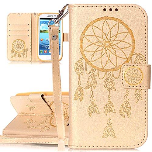 ISAKEN Custodia Galaxy S3, Flip Cover per Samsung Galaxy S3 I9300[PU Pelle] Sbalzato Embossed Design Custodia Flip Portafoglio Wallet con Supporto di Stand/Carte Slot - deamcatcher:Oro