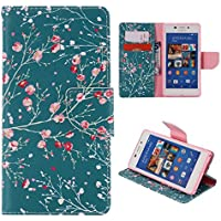 Casefirst Sony Xperia M2 Case, Luxury PU Leather Wallet Flip Protective Falling Case Cover with Card Slots and Stand for Sony Xperia M2 Plum Blossom
