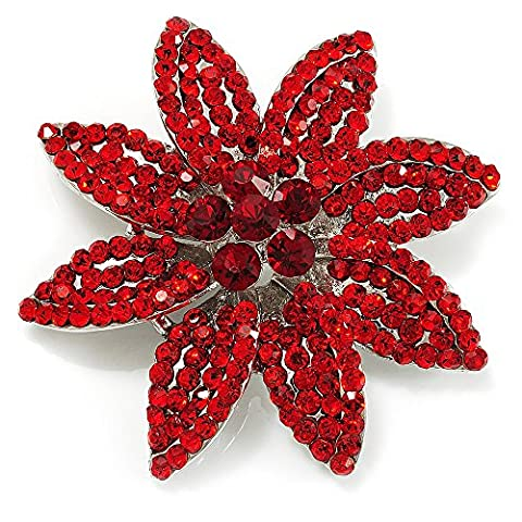 Broche Mariée Fleur Cristal Swarovski Rouge Vif (Ton