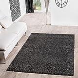 T&T Design Shaggy Teppich Hochflor Langflor Teppiche Wohnzimmer Preishammer Versch. Farben, Größe:160x220 cm, Farbe:anthrazit