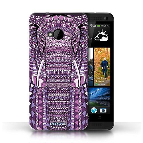 Coque de Stuff4 / Coque pour HTC One/1 M7 / Loup-Bleu Design / Motif Animaux Aztec Collection éléphant-Pourpre