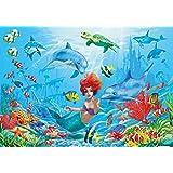 Sirena sott'acqua FOTOMURALE - mondo sott'acqua pesci delfini quadro da parete - XXL mondo del mare decorazione da parete - cameretta dei bambini bambina 210 cm x 140 cm
