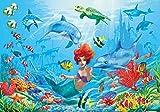 Sirena subacuático papel pintado de fotografía – subacuático peces Delfinescuadro mural - XXL mundo submarino cuadro mural – cuarto de los niños cuento by GREAT ART (140 x 100 cm)
