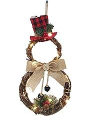 Funpa Christmas Wreath Fashion Plant Rattan Creative LED Light Hanging Wreath Xmas Decor