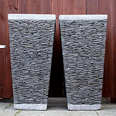 Grande, 80 cm, colore: naturale, Stacked, Vaso quadrato per piante, in ardesia - Ardesia Outdoor Patio
