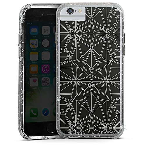 Apple iPhone 7 Bumper Hülle Bumper Case Glitzer Hülle Black and White Pattern Muster Bumper Case Glitzer silber