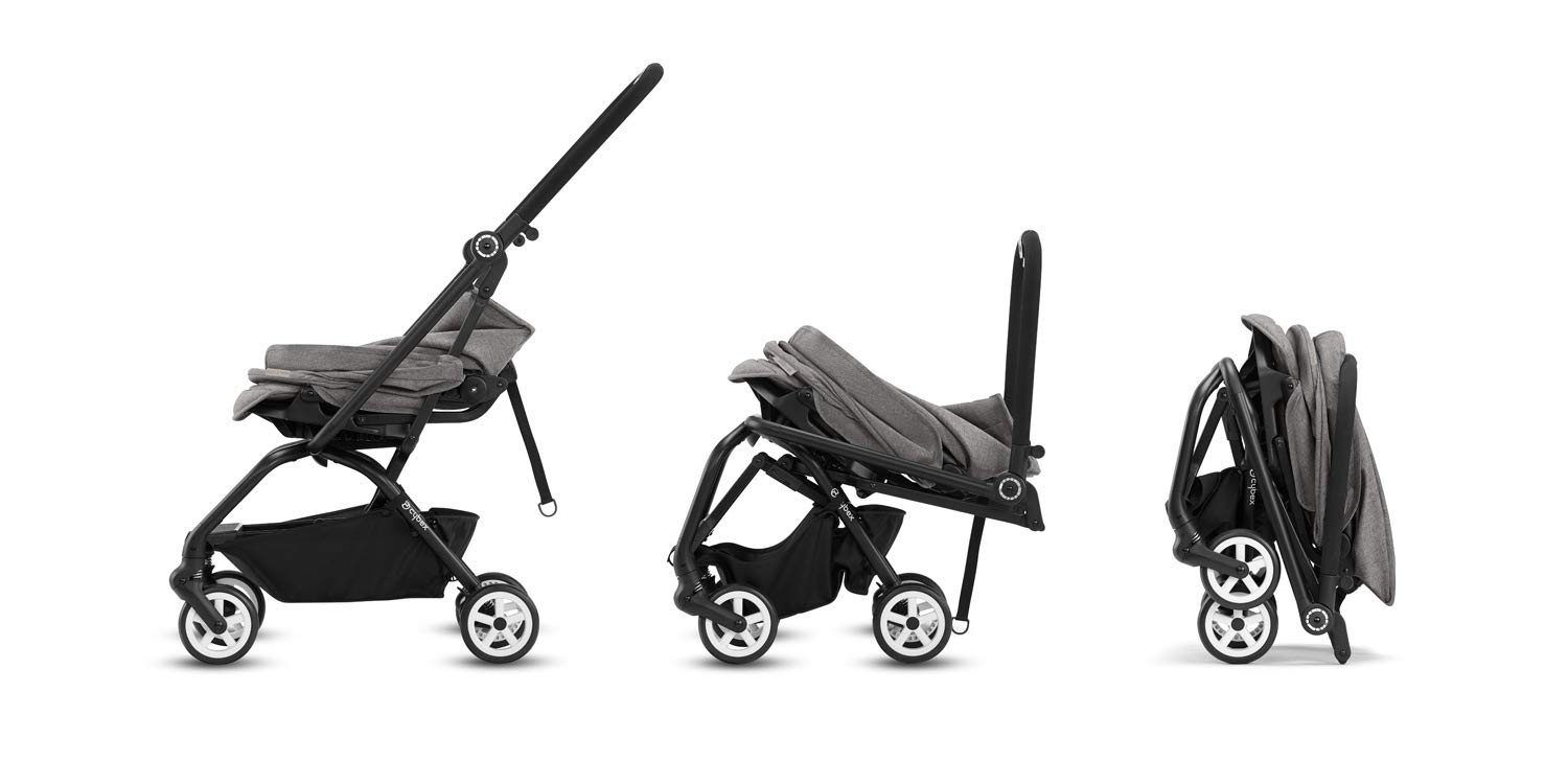 CYBEX Gold Eezy S Twist Compact Pushchair, 360° Rotatable Seat Unit, Ultra-Compact, From Birth to 17 kg (approx. 4 years), Lavastone Black  Sturdy, High-quality Compact Pushchair for newborns up to approx. 17 kg (approx. 4 years) with unique rotatable seat unit - Including rain cover for optimum use in all weather conditions Quick and easy change of direction with 360° rotatable seat unit, Comfortable sitting position thanks to stepless adjustable reclining backrest with lie-flat position, Puncture proof tyres and all-terrain wheel suspension Simple folding with one-hand folding mechanism for compact travel size (LxWxH: 26 x 45 x 56 cm), Extremely manoeuvrable due to narrow wheelbase, Can also be used as 3-in-1 travel system with separately available CYBEX and gb infant carriers and the baby cocoon S (sold separately) 5