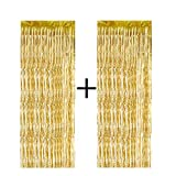VEYLIN 2 Pack Metallic Foil Fringe Curtains Streamer Curtain for Gold Backdrop Party Decorations, 3.28ft x 8.2ft (Gold)