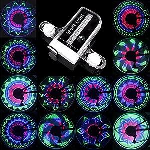 Rueda de bicicleta LED Light A02, FLYING_WE 14 bicicleta colorida impermeable habló luz con 30 cambios de patrón diferentes para montar al aire libre, noche de Halloween y otros partidos.