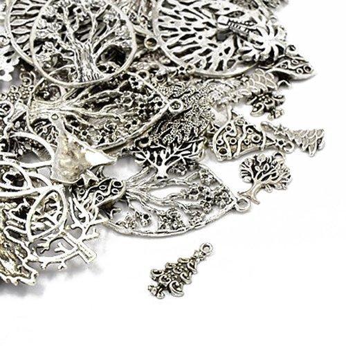 Paket 30 Gramm Antik Silber Tibetanische ZufälligeMischung Charms (Baum) - (HA07070) - Charming Beads