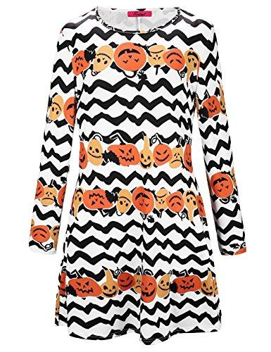 SIMYJOY Damen Halloween Langarm Kittel Flared Skater Kleid Swing Kleid für Party Cocktail Kostüm und Parade weißer kürbis XXL (Weißen Kittel Halloween Kostüm)