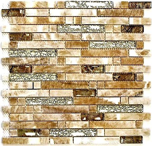Mosaik Fliese Transluzent bernstein gold Verbund Glasmosaik Crystal Stein Onyx Eleganz gold für WAND BAD WC DUSCHE KÜCHE FLIESENSPIEGEL THEKENVERKLEIDUNG BADEWANNENVERKLEIDUNG Mosaikmatte Mosaikplatte -