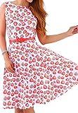 OMZIN Frauen der 1950er Jahre Stil Retro Blumenmuster Drucken Vintage Wiggle Kleid Rosa S