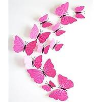 EXIU 12pcs 3D Papillon Autocollants de Mur Papillons DIY Art Chambre Ornement Papier