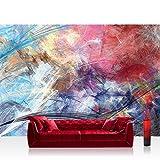 Fototapete 368x254cm PREMIUM Wand Foto Tapete Wand Bild Papiertapete - Kunst Tapete abstrakt modern Formen fließend bunt - no. 3175