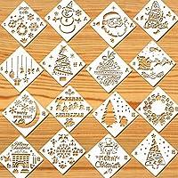 Howaf 16 Piezas Navidad Plantillas Dibujo niños plástico Pintura Plantillas para Manualidades, Scrapbooking, Diario,Pintura, Navidad Decoración