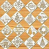 Howaf Weihnachts schablonen Set, 16 Stück Kunststoff Zeichnung Malerei Schablone für Bullet Journal, Scrapbooking, Fotoalbum, Weihnachtskarten, Körpermalfarben, weihnachtsdeko