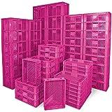 1 Palette / 78 Stück Stapelkörbe/Bäckerkästen in 5 Größen, Grundmaß LxB 600 x 400 mm, H 90 mm, 150 mm, 240 mm, 320 mm, 410 mm, Farbe pink